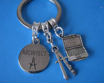 Architect Keyring Gift for an Architect Graduation Gift Laptop Computer Compass Charms Gift for a Son Daughter Best Friend Gift