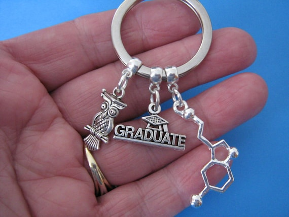 Chemistry Graduation Gift Science Keyring Microscope Inspire Seratonin Symbol