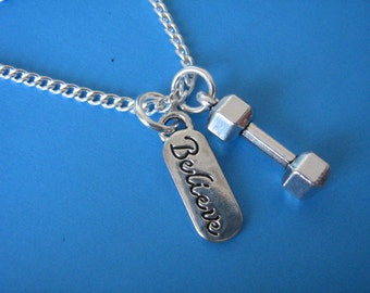 Dumbbell Necklace Weightlifting Strength Training Lifting Weights Crossfit Gift Believe Charm