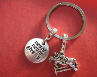 Equestrian Keyring Horse Keychain Inspirational Show Jumping Charm