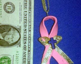OOAK Hand Made Breast Cancer Awareness Pink Ribbon with Blue Cross Christmas Ornament 05