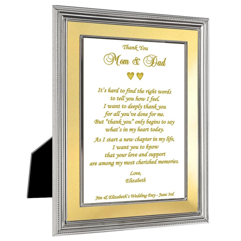 Wedding Thank You Gift to Parents Personalized for Both or Just Mom or Dad  - Sweet Poem in 5x7 Frame (08-026)