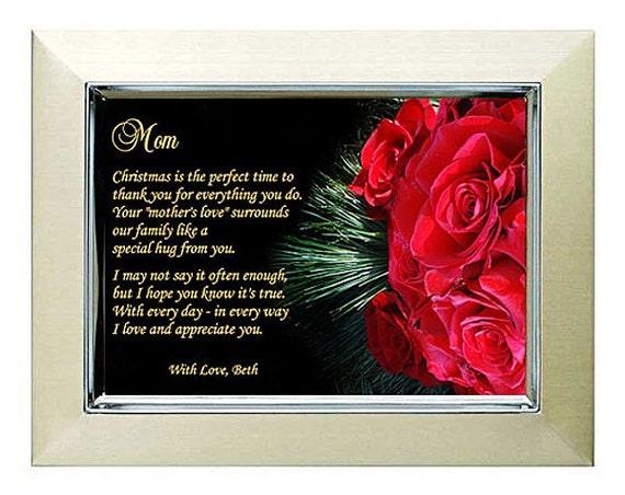 Cadeau De Noël Pour Maman Touchant Poème De Fils Ou Fille En 5 X 7 Pouces Cadre Métallique Doré Avec Motif Roses Rouges 60 598
