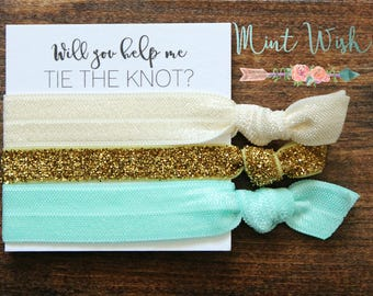 Bridesmaid Hair Ties | Bridesmaid Gift | Will You Help Me Tie The Knot | Gold Glitter + Ivory + Aqua | Wedding Favor | Bridal Shower Favor