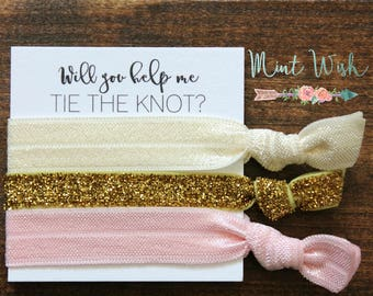 Bridesmaid Hair Ties | Bridesmaid Gift | Will You Help Me Tie The Knot | Gold Glitter + Ivory + Pink | Wedding Favor | Bridal Shower Favor