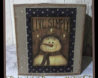 PRIMITIVE COUNTRY SNOWMAN TISSUE BOX COVER HOLDER