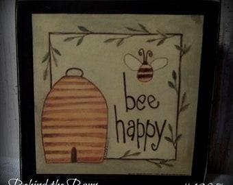Country Primitive Farmhouse Bee Happy Wood Print Block Shelf Sitter