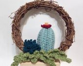 Crocheted Cactus Wreath Office decor Home decor Gift Knit cactus plant wall decor wall hanging