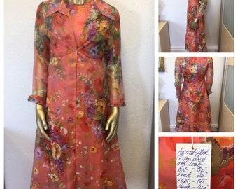 1960 ' s rose en mousseline de soie robe à fleurs et veste de costume - taille 8/10