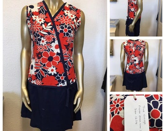 1960's Red and Navy Floral Dress / Scort - Size 12