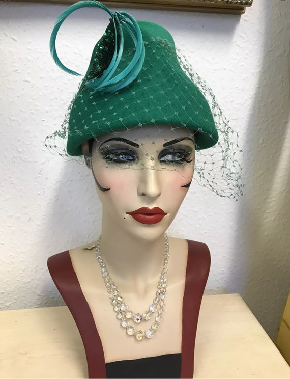 1950's Green Cocktail Hat