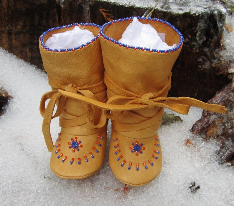Winter Baby Boy Boots Christmas Gift Leather Native American image 0
