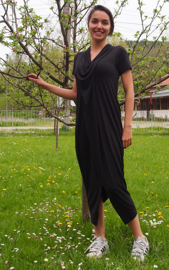 Long Dress Black Dress DR038 Dress amp; Loose Dress Tunic Over Nara Loose Jersey Long zise Maxi Tunic gpWpn