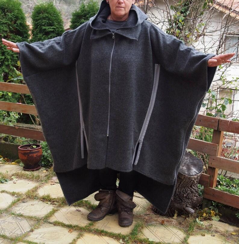 NEW COLLECTIONWinter  Hooded Coat Maxi Coat Nara PV011 Extravagant Windproof Zipper Coat Asymmetric Loose Coat