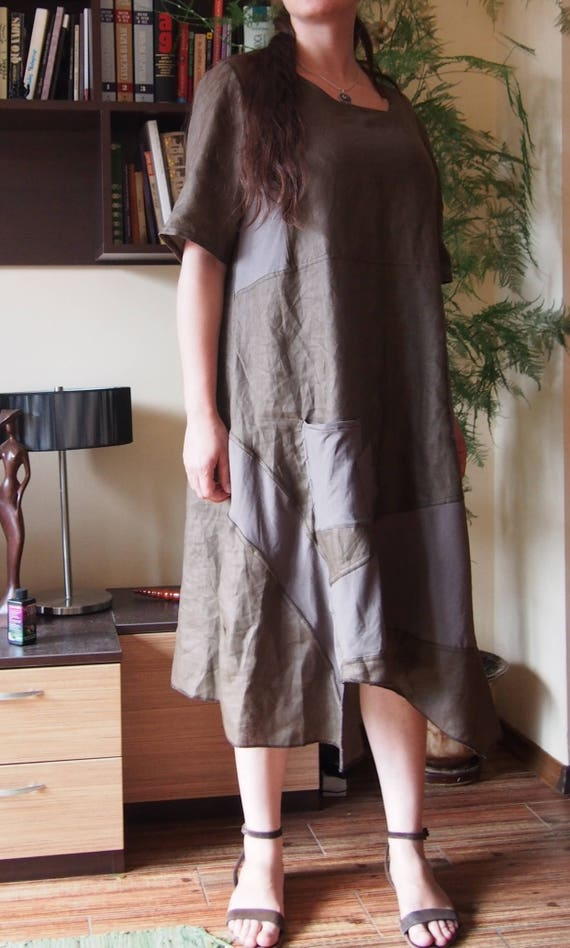 Extravagant Loose Dress Dress Dress Short Linen Maxi amp; LR015 Asymmetric size Nara Plus Linen Sleeve Dress 4vB7Pw