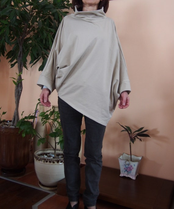 amp; uilted Over Tunic Nara Asymmetrical TT037 Tunic Cotton sized Twisted 06pTnq4