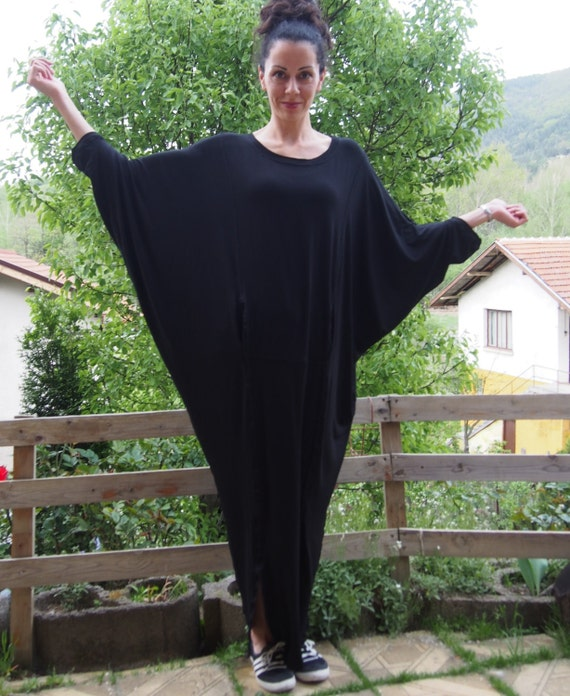 Black Dress size Dress Dress Maxi Tunic Kaftan Loose Maternity Long Plus Dress DR012 Nara Dress amp; d54wUq