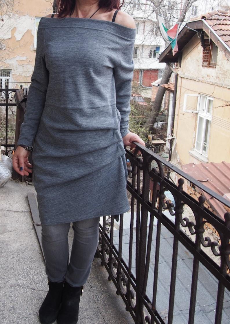Gray  Dress Midi Dress Extravagant Dress  Soft Viscose jersey Tunic Top /& Nara KR002