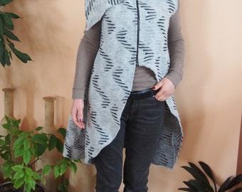 Long Wool Without Sleeves Cardigan Asymmetrical Wool Vest  & Nara EL001