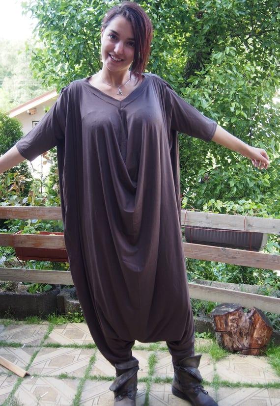 Jumpsuit POT006 Maxi Size Drop amp; Extravagant Dress Plus Crotch Jumpsuit Casual Nara Loose PantsP F4FwtqnUg