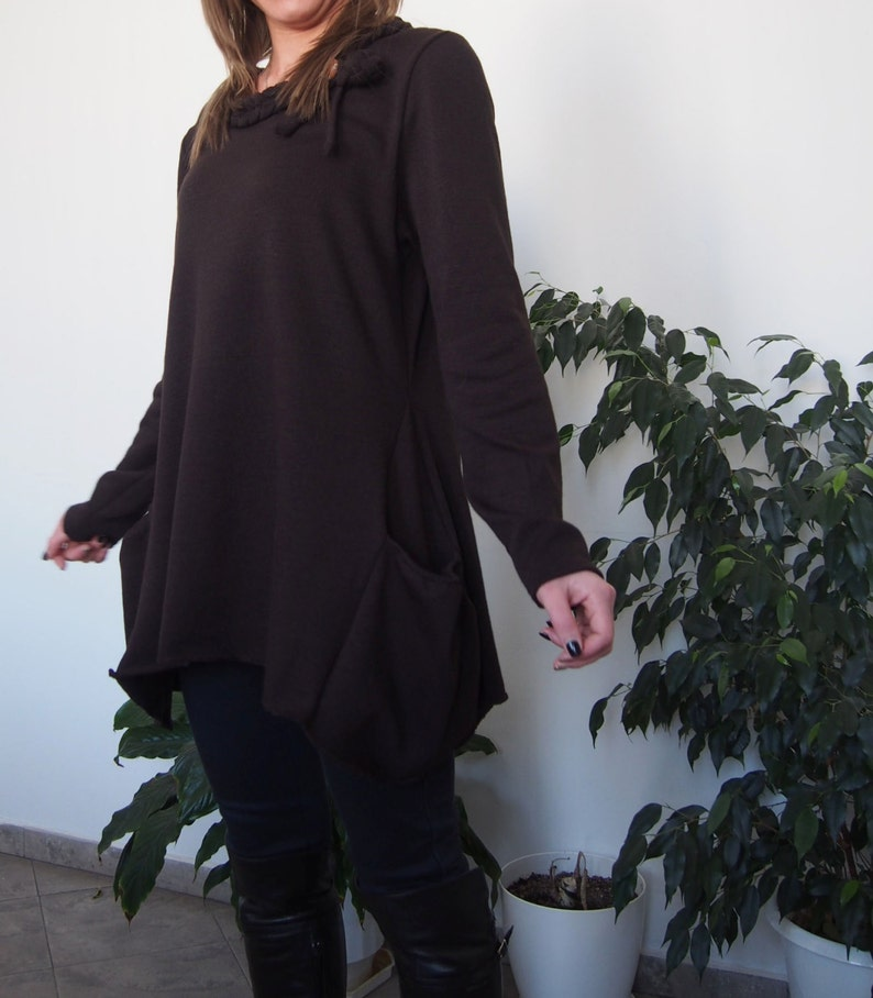 Knitted Over-sized Long Sleevel Cotton Tunic with Pockets /& Nara TPL002