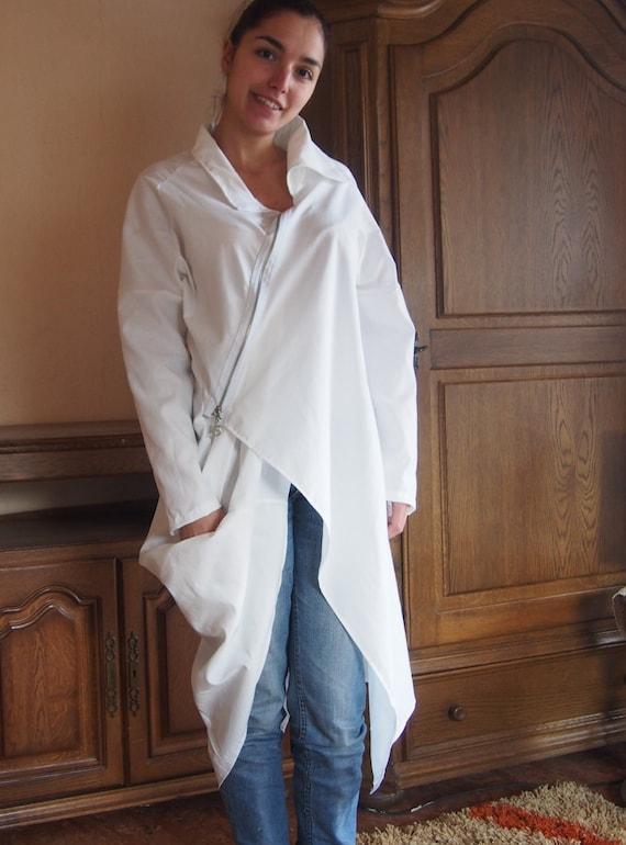 Shirt Nara Аsymmetric Long Shirt Extravagant Cotton amp; RIZ006 with zippered 85Hwwnq