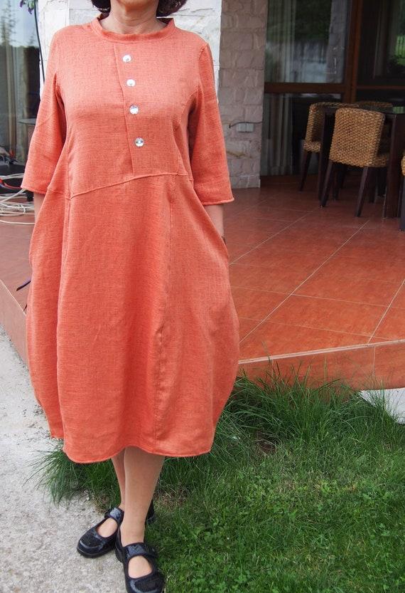 Dress Dress Linen Dress Nara Extravagant Maxi Dress LR023 amp; Kaftan Party Long Orange OwFx46