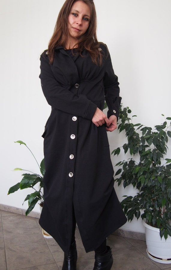 Asymmetric Jersey Pockets Long Black Coat Coat DP011 with Coat Nara Playful Cotton Spring Soft amp; Big Extravagant fHrqOwzf