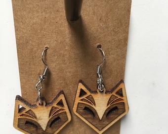 Contrast Wooden Fox Earrings