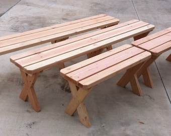 Redwood Picnic Bench. 8 ft x 1 ft. (18 inches high)