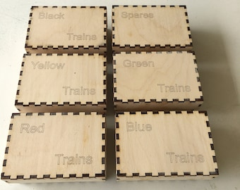 Wooden Boxes for Ticket To Ride Game Pieces