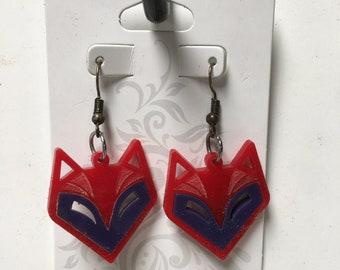 Contrast Acrylic Fox Earrings