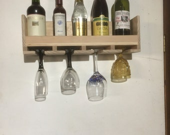 Wine Bottle and Glasses Rack
