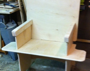 Slot together High Back Plywood Chair with side shelves