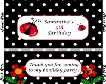 Ladybugs - Birthday Hershey's Candy Bar Wrappers (Listing is for 12 Wrappers)