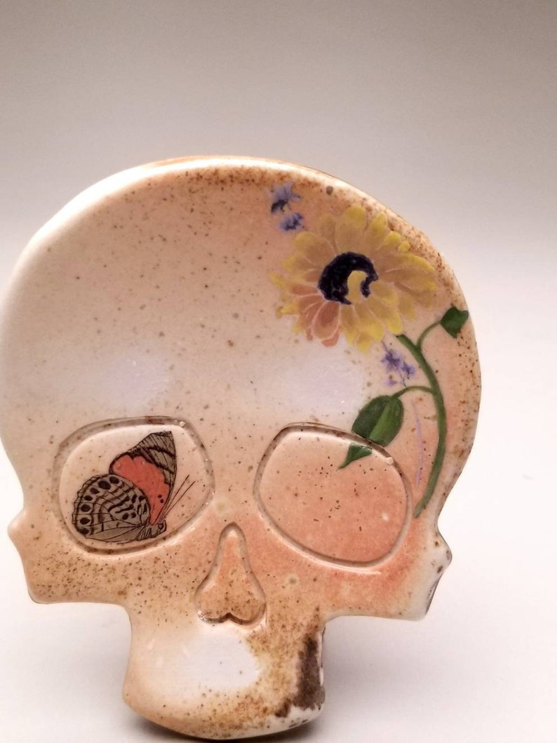 Skull Tray with Butterfly and Sunflower