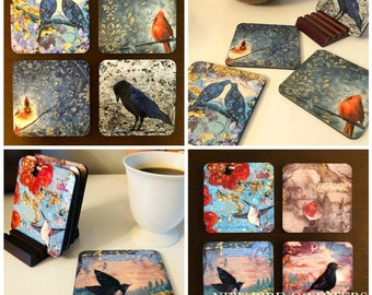 Coasters - Bird Coasters, set of 4 unique bird images with stand.