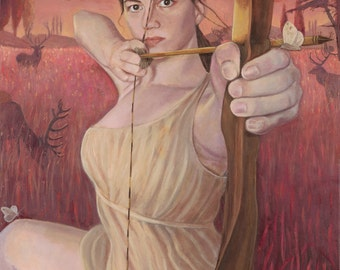 "Artemis Maiden of the Hunt - 24"" x 36"" giclee reproduction on canvas"