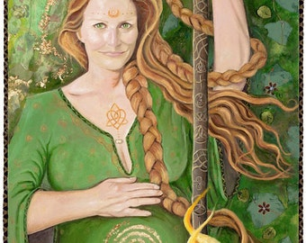 """Wall Hanging Brighid Mother Goddess of Ireland -22"""" x 44"""" pockets for poles/dowels top and bottom"""