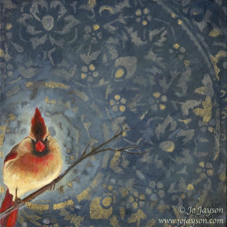 Mrs Cardinal  Original Painting  8 x 8 oil on image 0