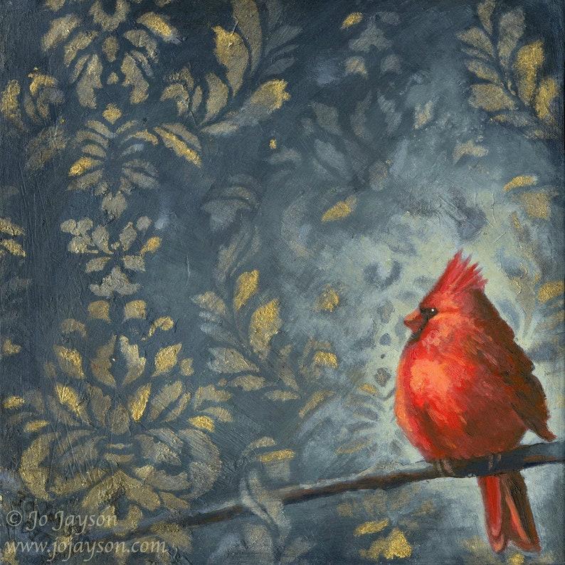 Mr Cardinal  Original Painting  8 x 8 oilon image 0