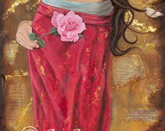 "Mariamne of Magdala -The Magdalene -Digital Print 6.5"" x 12.5"" on gloss card - 1/2 inch border"