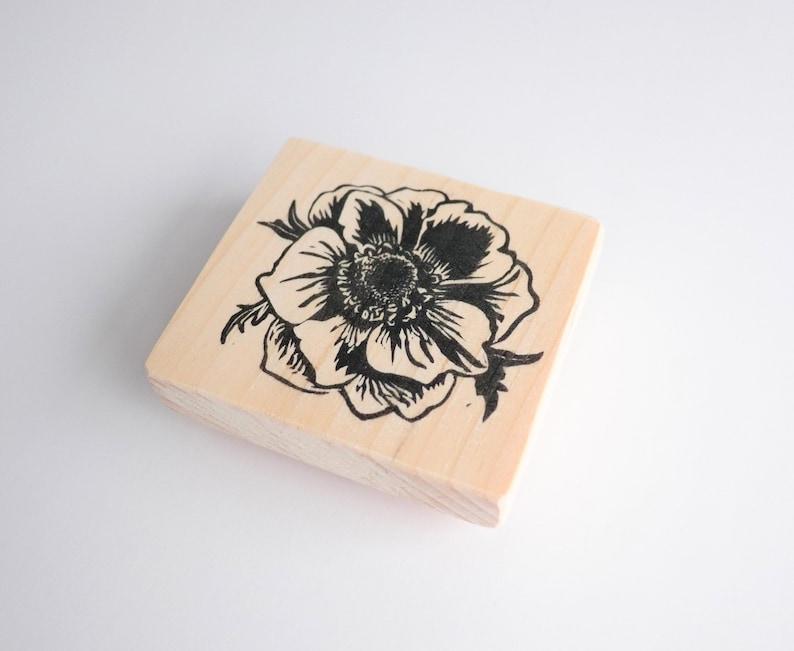 Wood mounted rubber stamp One year anniversary First year anniversary Paper anniversary gift Wedding flower keepsake Gift under 50