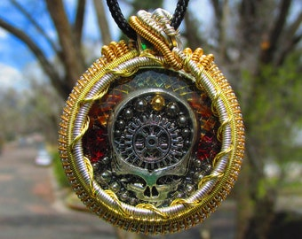 Grateful Dead Inspired Steal Your Face Steampunk Wire Wrapped Pendant