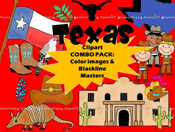 Texas Clipart Combo Pack - Color and Blackline Masters - Personal and  Commercial use