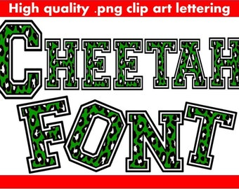 FONTS - Green Cheetah Print - Commercial and Personal use