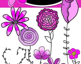 Clipart - Flower Doodles - digital download