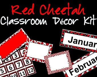 Red Cheetah Theme Decor Kit - Classroom, Homeschool, Fun Things for Kids