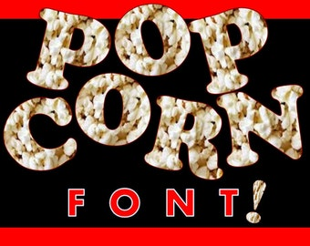 FONTS - Popcorn Print - Commercial and Personal use
