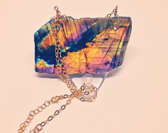 Nebula: bright and flashy raw labradorite /  spectrolite slab pendant